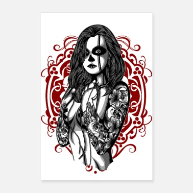 Tattooed Woman with tattoo - Poster