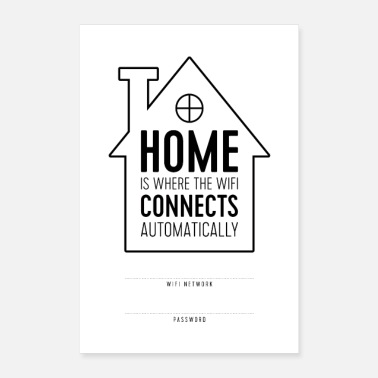 Typography Home is Where WiFi Connects Automatically - Poster 8x12
