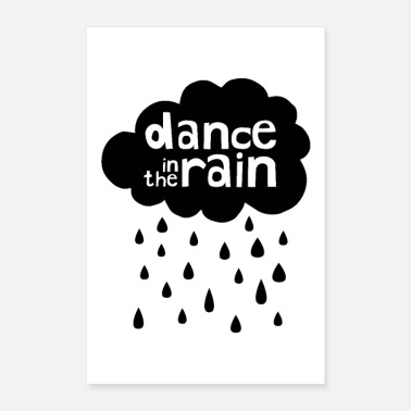 Bubaprints Dance In The Rain - Cloud with raindrops - Poster 8 x 12