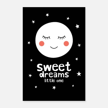 Baby Shower Sleepy Moon - Sweet Dreams Little One - Poster 8x12