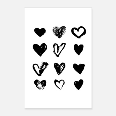 Anns Selection Black Hearts - Paint - Poster 8 x 12