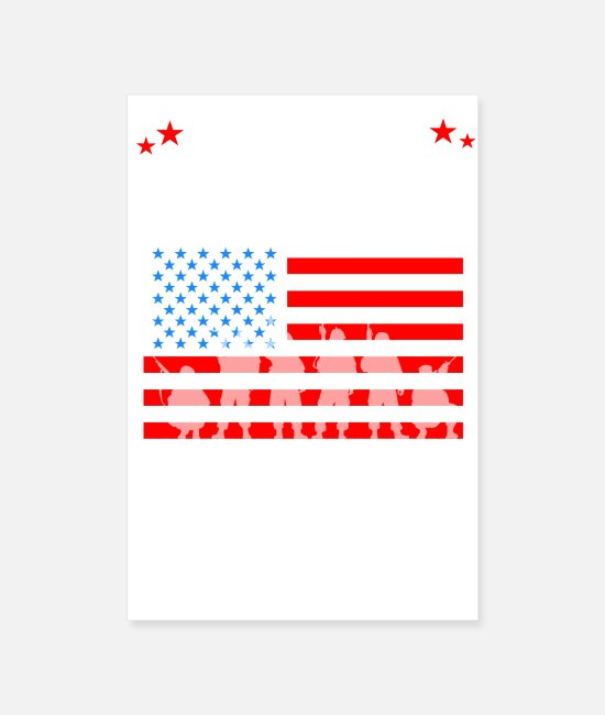 United States Flag Posters - U.S Flag/Army Design - Posters white