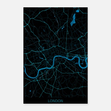 London London UK Road Map - Poster 8x12