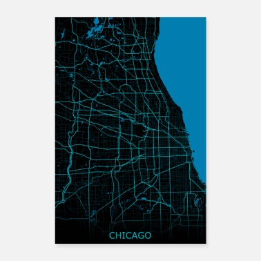 Mode Chicago Road Map - Poster 8x12