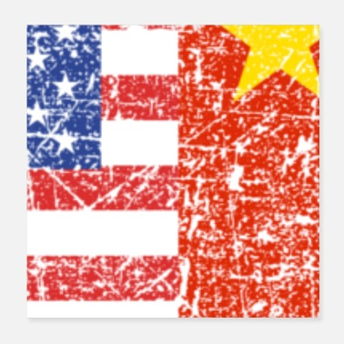 America USA China Heart Gift - Poster