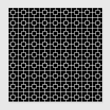 Black White Square Chain Pattern Design - Poster 8x8