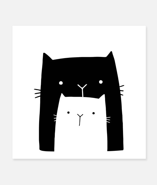 Christmas Posters - two cats cat cute gift idea - Posters white