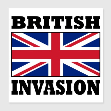 British Invasion with Union Jack Flag Poster - Poster 8x8
