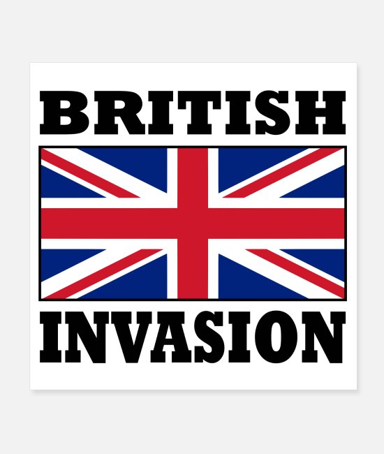 British Posters - British Invasion with Union Jack Flag Poster - Posters white