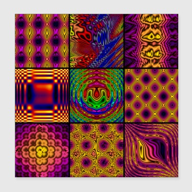 9 Panel Square Collage of Computer Art - Poster 8x8