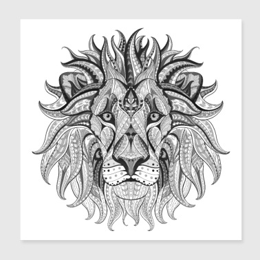 Ethnic Tribal Lion BW - Poster 8x8