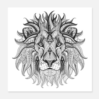 Ethnic Tribal Lion BW - Poster