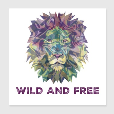 Digital Multicolor Wild And Free Lion Head - Poster 8x8