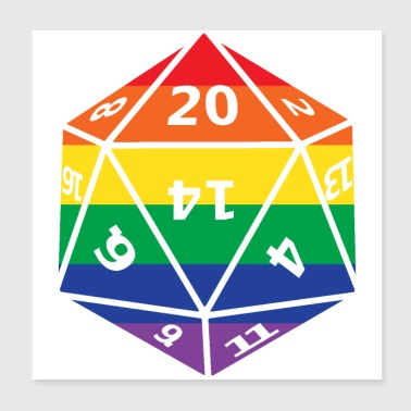 Rainbow D20 Dungeons Dragons - Poster 8x8
