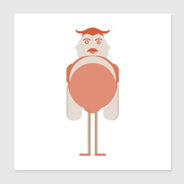 tall man illustration - Poster 8x8