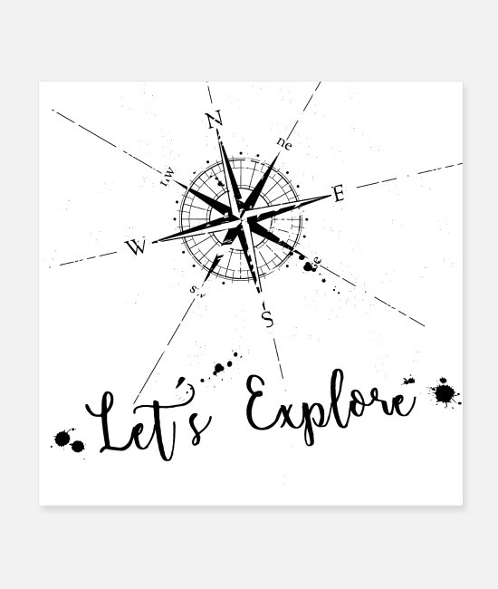 Nature Posters - Compass Navigation Travel Map Nature Gift - Posters white