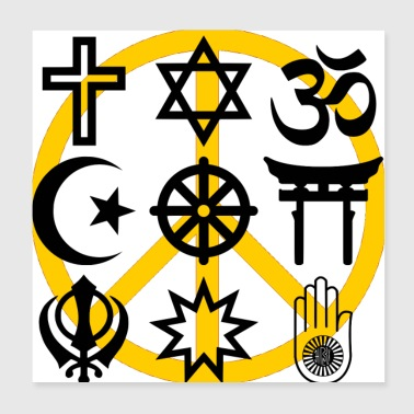 World religions with peace symbol - Poster 8x8