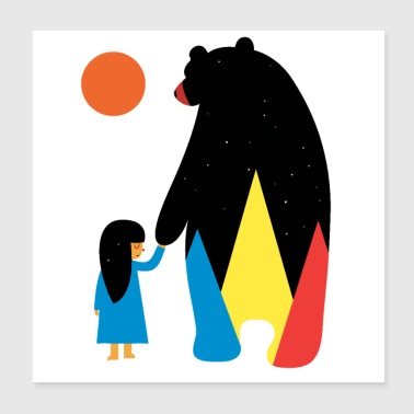 Bear with wolf - Poster 8x8