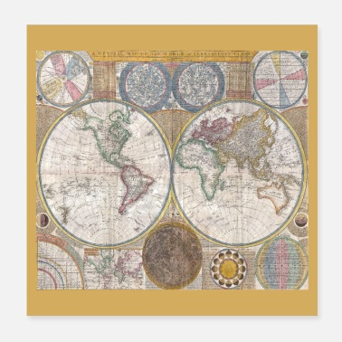 World Map Antique World Map Globe Print - Poster