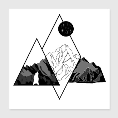 Mountains and Bear - Poster 8x8