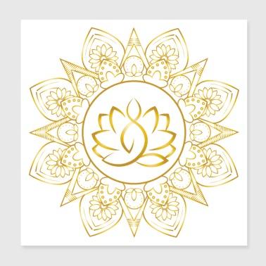 Shop lotus flower posters online spreadshirt lotus yoga mandala positive vibes poster 8x8 mightylinksfo