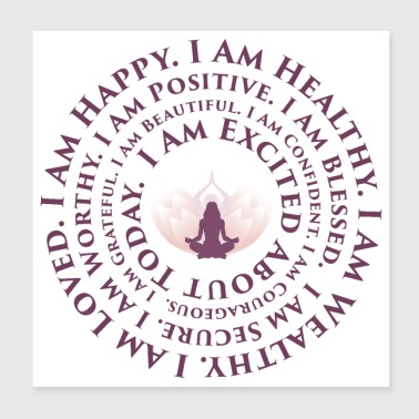 Lotus Yoga I Am Mantra | Positive Vibes - Poster 8x8