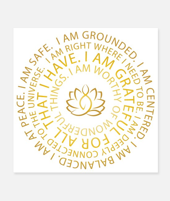 Positive Posters - Golden Lotus Yoga | I Am Mantra | Affirmations - Posters white