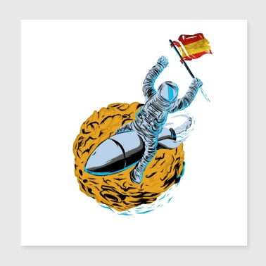 Astronaut Space Flag Spain - Poster 8x8