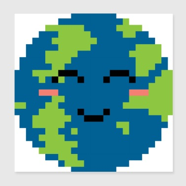 Pixelated Smiling World - Gift Idea - Poster 8x8