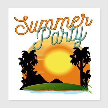 Summer Party Palms Sunset Ocean - Gift Idea - Poster 8x8