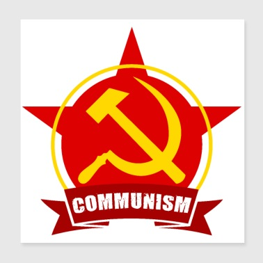 Communism Red Army Star Banner Badge Hammer Sickle - Poster 8x8