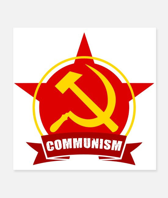 Red Posters - Communism Red Army Star Banner Badge Hammer Sickle - Posters white