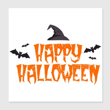 Happy Halloween Bats witch hat - gift idea - Poster 8x8
