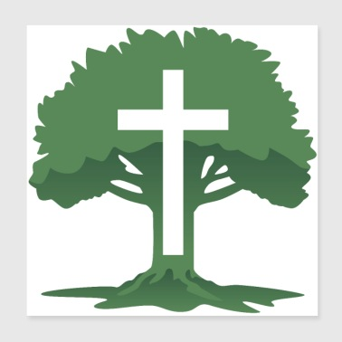 Christian Cross with Tree of Life - Poster 8x8