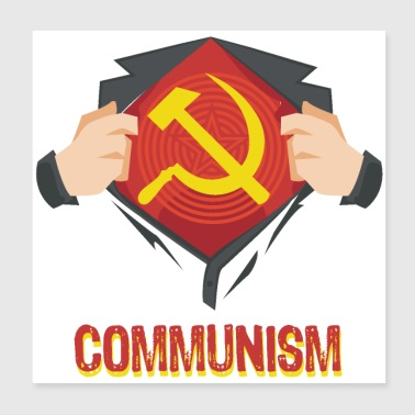 Communism Superhero Hammer Sickle Red USSR - Gift - Poster 8x8