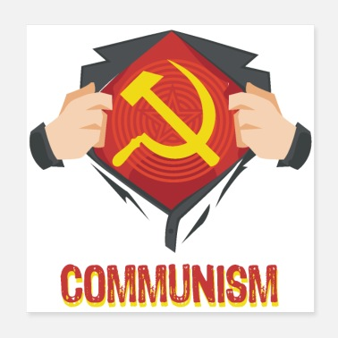 Communism Communism Superhero Hammer Sickle Red USSR - Gift - Poster