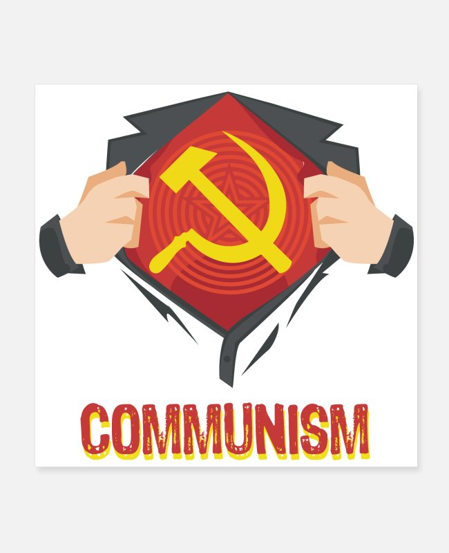 Red Army Posters - Communism Superhero Hammer Sickle Red USSR - Gift - Posters white