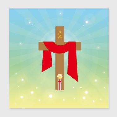 Jesus Christ cross light. - Poster 8x8