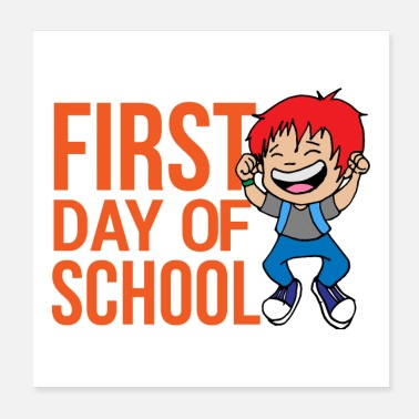 First Day Of School First Day of School Boy Jumping Happy Fun Gift - Poster