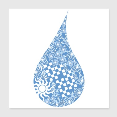 Maori Water drop tattoo tribal shapes- Gift Idea - Poster 8x8