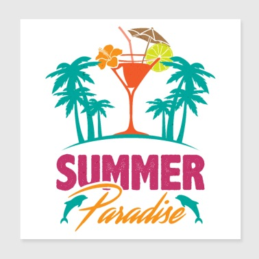 Summer Paradise Ocean Island Dolphin Palm Cocktail - Poster 8x8