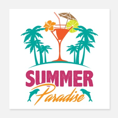 Festival Summer Paradise Ocean Island Dolphin Palm Cocktail - Poster