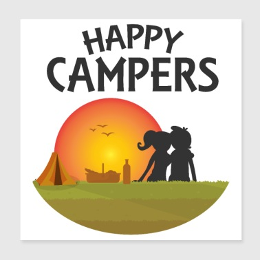 Happy Campers Outdoor Black - Gift Idea - Poster 8x8