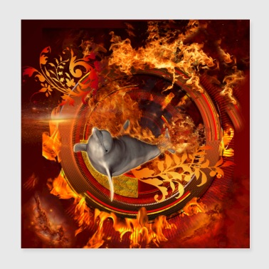 Dolphin jumping by a fire ball - Poster 8x8
