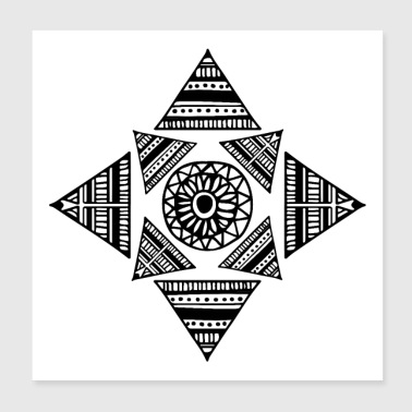 Tribal Shape Tattoo Triangle Maori Tribe Sunflower - Poster 8x8