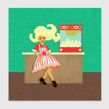 Movie Time! Woman Popcorn Vendor with Popcorn Mach - Poster 8x8