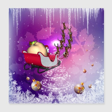 Santa Claus with sleigh and reindeer in the sky - Poster 8x8