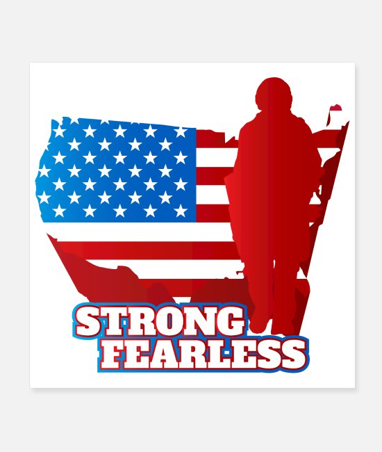 Shadow Of Soldier Posters - Army Soldier figure US Flag Strong Fearless brave - Posters white