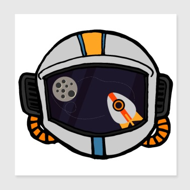Flat Design Astronaut Space Rocket View Reflection - Poster 8x8