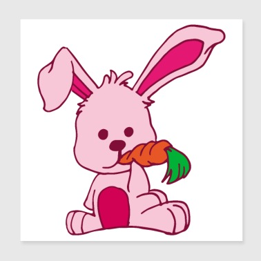 Flat Design Rabbit Loves Carrot pink cute hungry - Poster 8x8